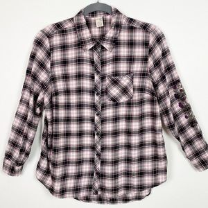 Terra & Sky Embroidered Plaid Button Up Shirt WW